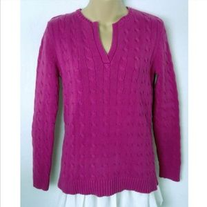 Ralph Lauren Sweater Cable Knit V Notch Pink